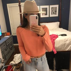 Forever 21 Cropped Coral Sweater